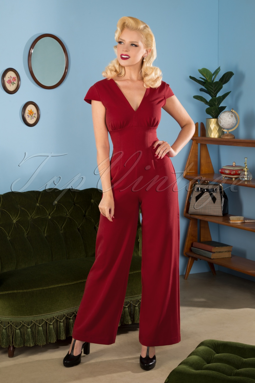 Vintage High Waisted Trousers, Sailor Pants, Jeans 50s Venice Jumpsuit in Deep Red £83.49 AT vintagedancer.com