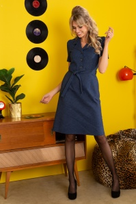 Revers Straight Skirt Dress Années 60 en Denim Foncé