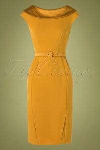 50s Rachel Pencil Dress in Mustard