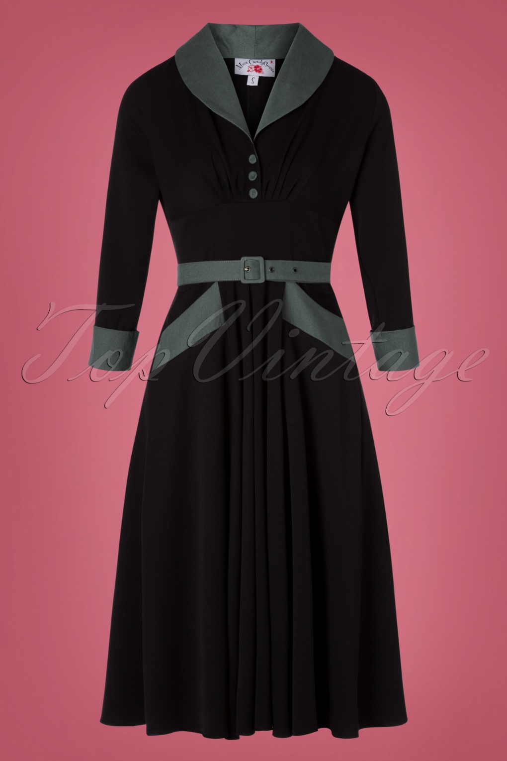 Fifties Dresses : 1950s Style Swing to Wiggle Dresses 50s Rosaleen Swing Dress in Black £101.02 AT vintagedancer.com