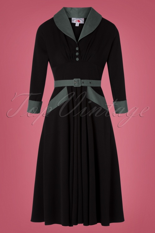 Miss Candyfloss 31048 Swingdress Black Sage Lining 07112019 000003W