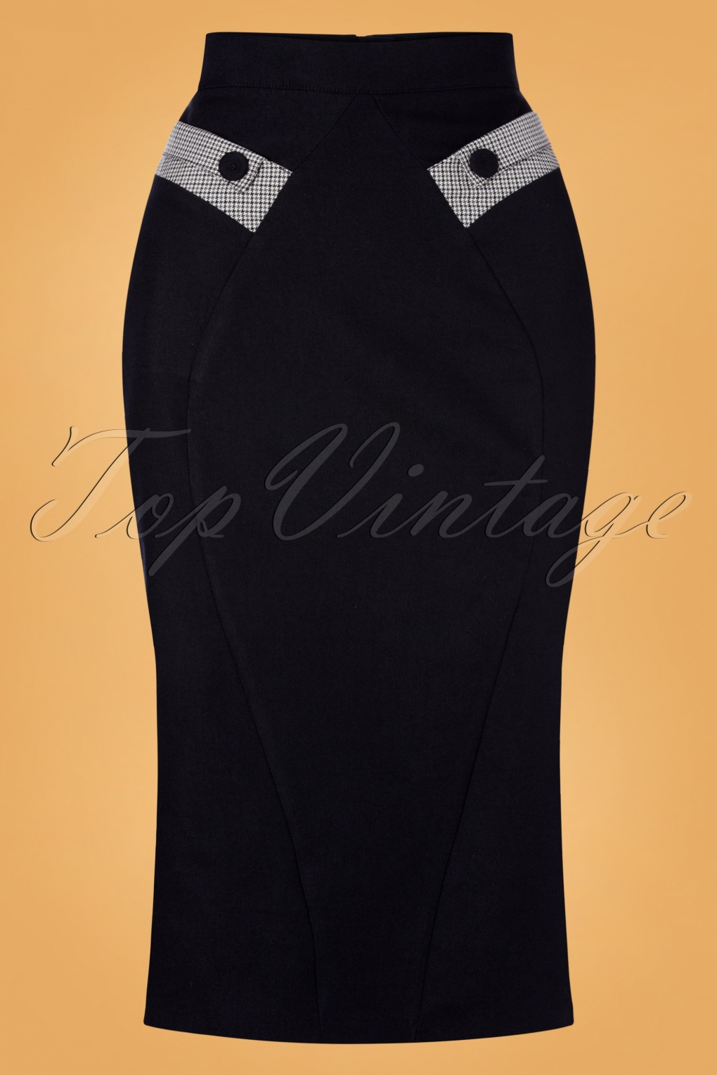 1950s Swing Skirt, Poodle Skirt, Pencil Skirts 50s Eszter Houndstooth Pencil Skirt in Dark Navy £51.09 AT vintagedancer.com