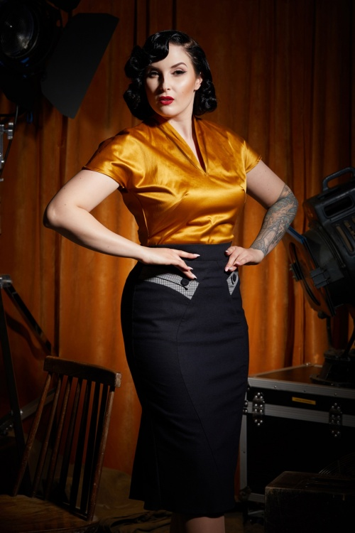 Miss Candyfloss 31019 Eszter Houndstooth Pencil Skirt in Dark Navy 31005 Boglarka Satin Top in Mustard 20190809 020L