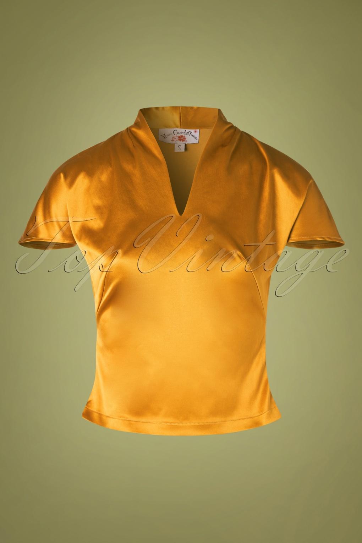 1950s Rockabilly & Pin Up Tops, Blouses, Shirts 50s Bóglarka Satin Top in Mustard £48.62 AT vintagedancer.com