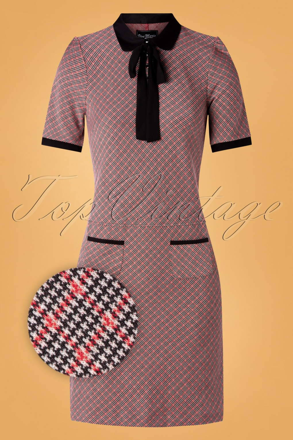 1960s Style Dresses, Clothing, Shoes UK 60s British School Dress in Red and Black £80.77 AT vintagedancer.com