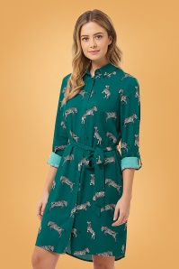 Sugarhill Brighton Tally Dazzle Of Zebras Shirt Dress Années 70 en Vert Canard