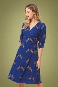 70s Aisha Dancing Cheetahs Wrap Dress in Royal Blue