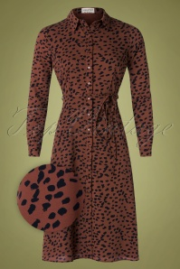 Britney Animal Spot Dress Années 70 en Brun Tan