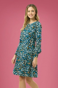 Sugarhill Brighton 60s Samira Carnaby Street Floral Dress in Green