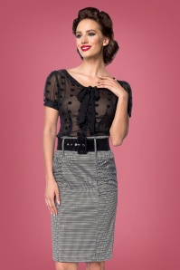 Belsira 50s Millie Houndstooth Pencil Skirt in Black and White