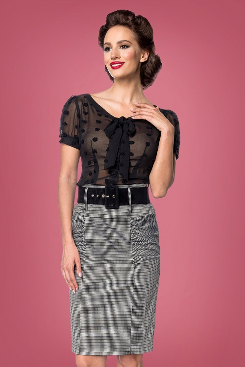 Belsira 31285 Pencil Skirt in Black and White 20190806 020L