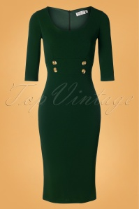 Vintage Chic for TopVintage 50s Verona Pencil Dress in Forest Green