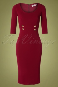 Vintage Chic for TopVintage 50s Verona Pencil Dress in Wine