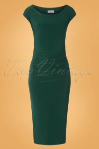 50s Jacintha Pencil Midi Dress in Dark Green