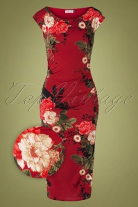 Vintage Chic 31792 Red Floral Pencil20190809 002Z