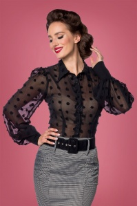 50s Dora Dots Blouse in Black