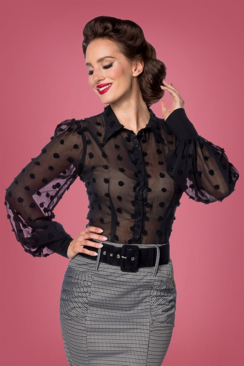 Belsira 31279 Dot Tassle Blouse in Black 20190806 020LW