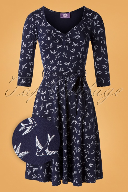 Vintage Boutique Collection 26499 Navy Cream Dress20190812 007Z