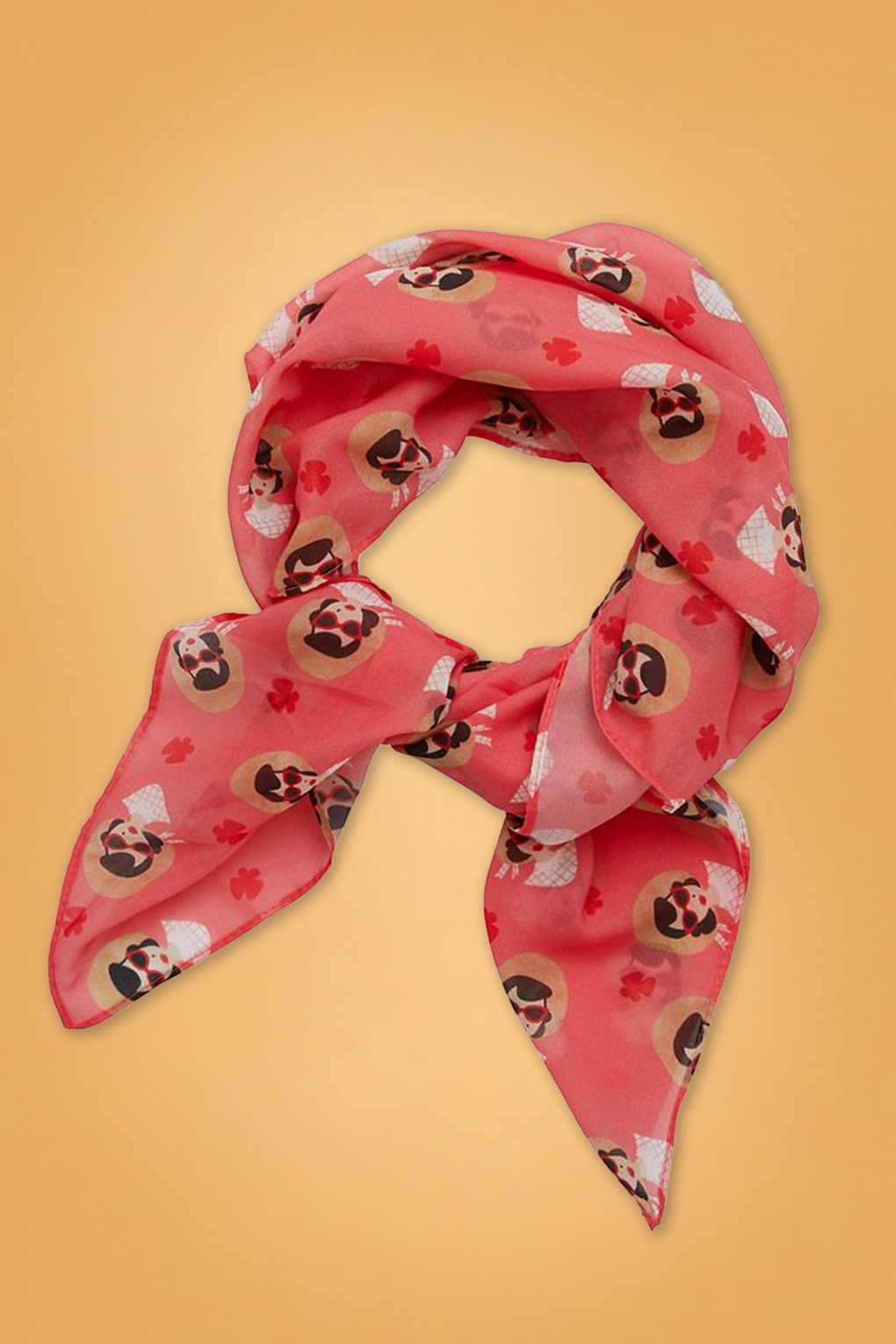 Vintage Scarf Styles -1920s to 1960s 50s Picnic Portrait Scarf £17.02 AT vintagedancer.com