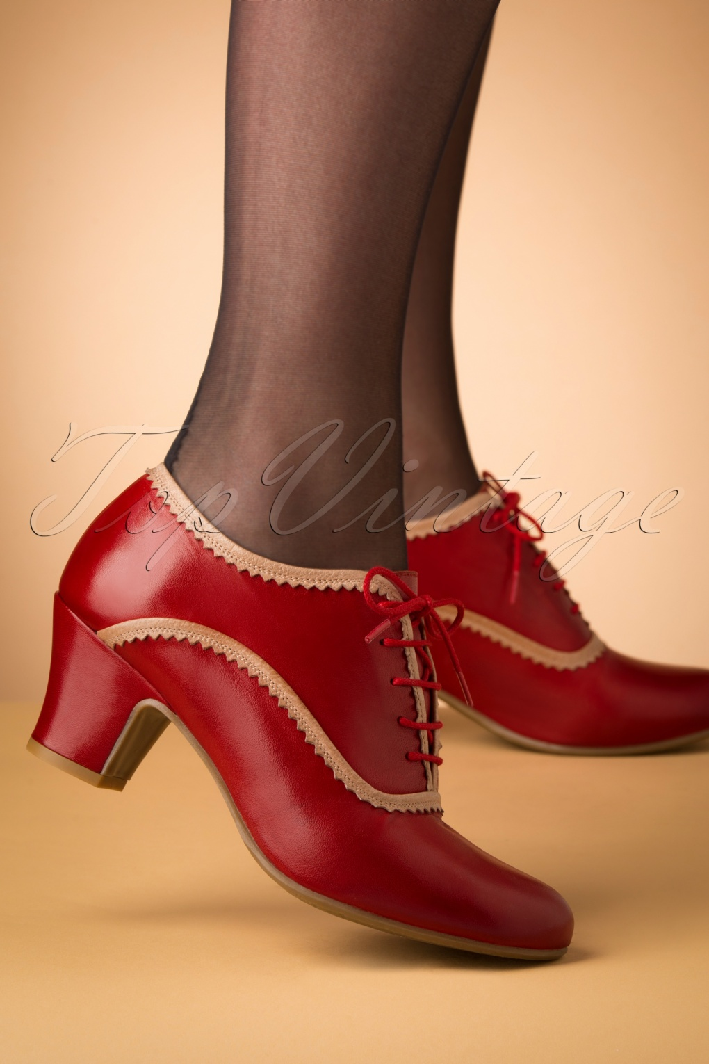 Vintage Style Shoes, Vintage Inspired Shoes 40s Farren Shoe Booties in Red £120.33 AT vintagedancer.com