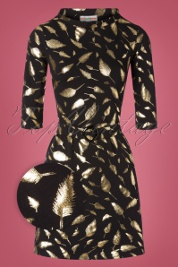 Cissi och Selma 60s Agneta Gold Feather Dress in Black