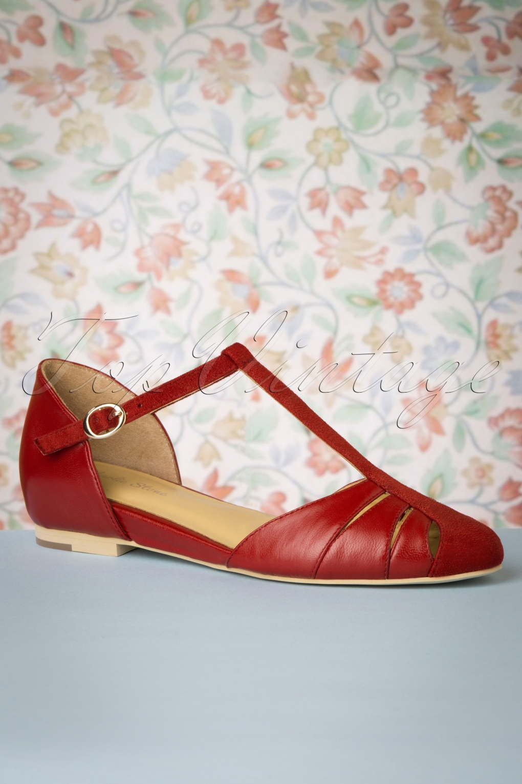 1950s Shoe Styles: Heels, Flats, Sandals, Saddles Shoes 50s Toscana T-Strap Flats in Red £102.43 AT vintagedancer.com
