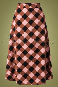Wild Pony 60s Penoia Check Skirt in Pink and Brown