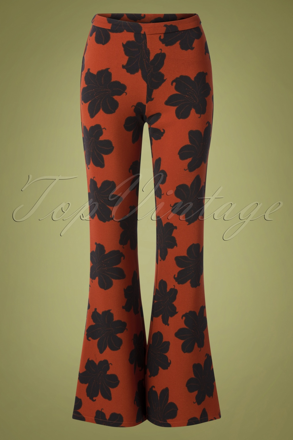 1960s Style Dresses, Clothing, Shoes UK 70s Peonia Floral Trousers in Rust £67.30 AT vintagedancer.com