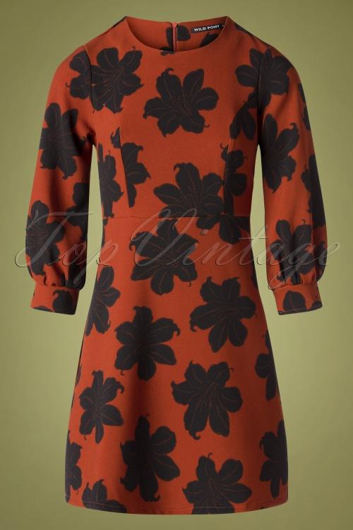 Wild Pony 29701 Peonia Dress Orange Black 20190812 003W