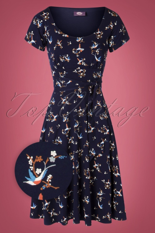 TopVintage Boutique Collection 31244 Navy Hummingbird Bow Dress 20190802 001Z