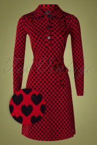 Tante Betsy Trudy Hearts Dress Années 60 en Rouge
