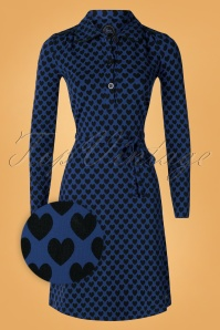 Tante Betsy 60s Trudy Hearts Dress in Blue