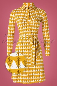 Tante Betsy 60s Winter Peaks Button Down Dress in Mustard