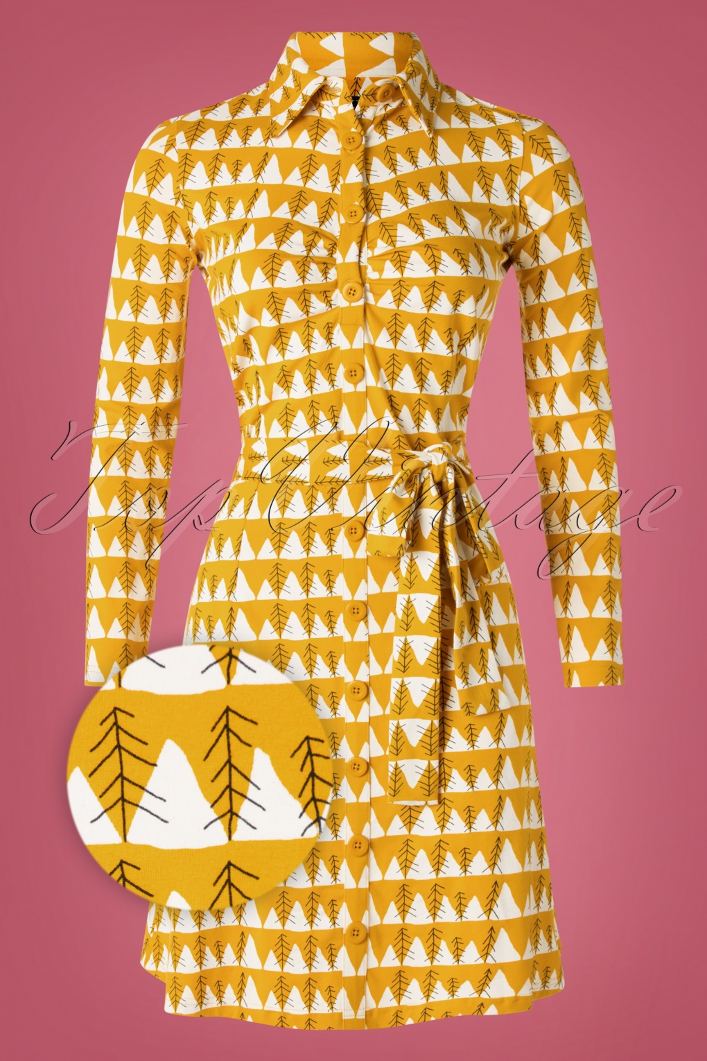 1960s Style Dresses, Clothing, Shoes UK 60s Winter Peaks Button Down Dress in Mustard £80.77 AT vintagedancer.com