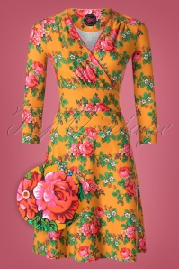 60s Swirley Bouquet Dress in Gold Yellow