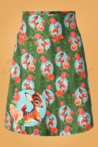 60s Kitschy Deer Skirt in Green