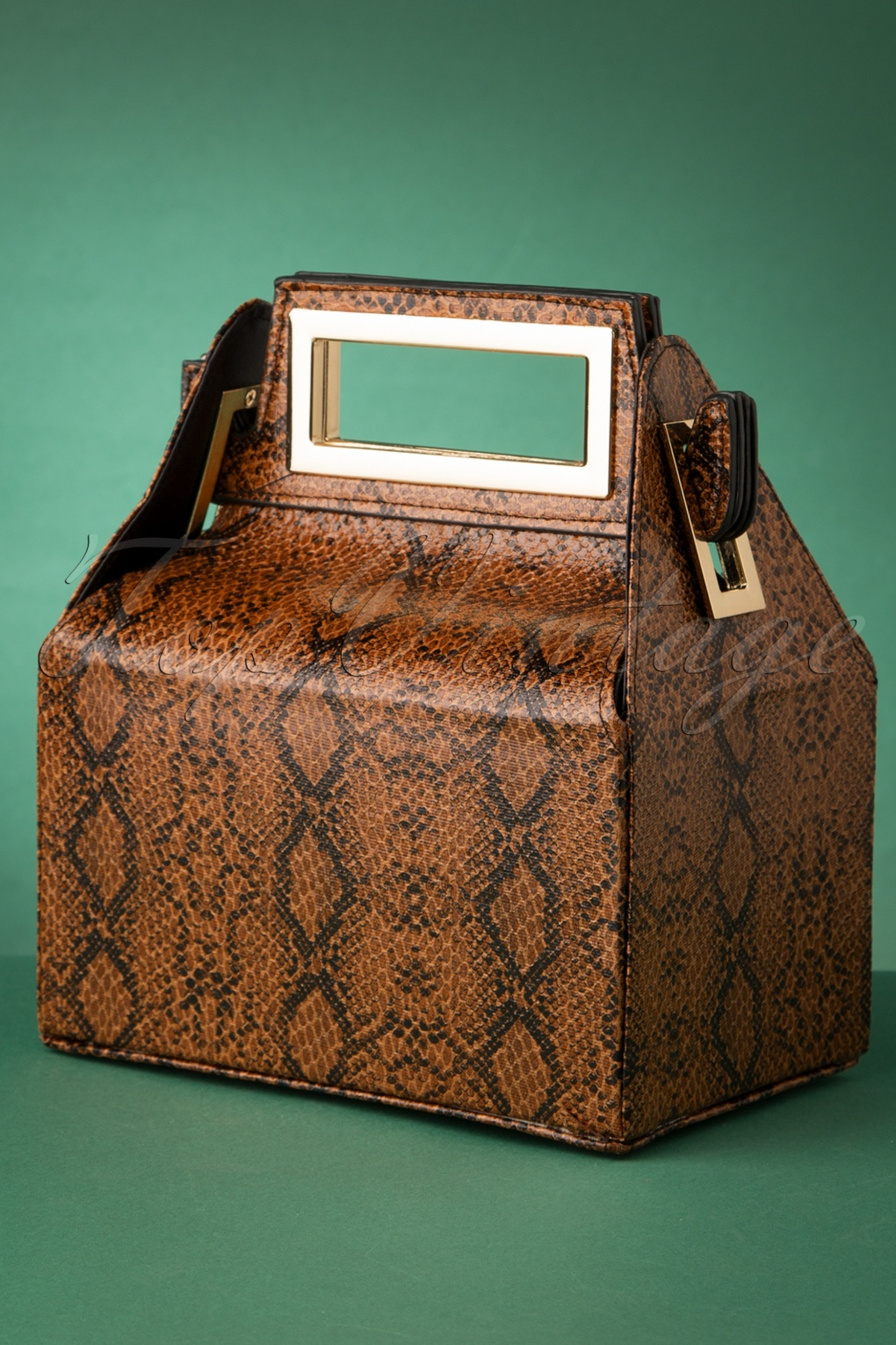 1960s Style Dresses, Clothing, Shoes UK 60s Una Snake Box Bag in Brown £38.57 AT vintagedancer.com