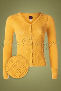 60s Tutti Frutti Cardigan in Mustard Yellow