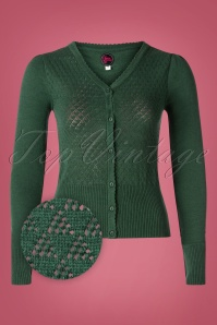 Tante Betsy 60s Tutti Frutti Cardigan in Forest Green