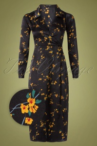 Wild Pony 70s Magnolia Floral Midi Dress in Black