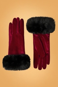 Amici 50s Valentina Velvet Gloves in Bordeaux