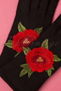 Amici 30369 Gloves Christina Black Flower 190812 007 W