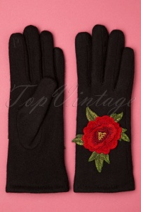 60s Christina Flower Wool Gloves in Black