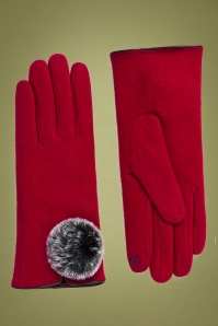 Lucia Wool Gloves Années 50 en Rouge