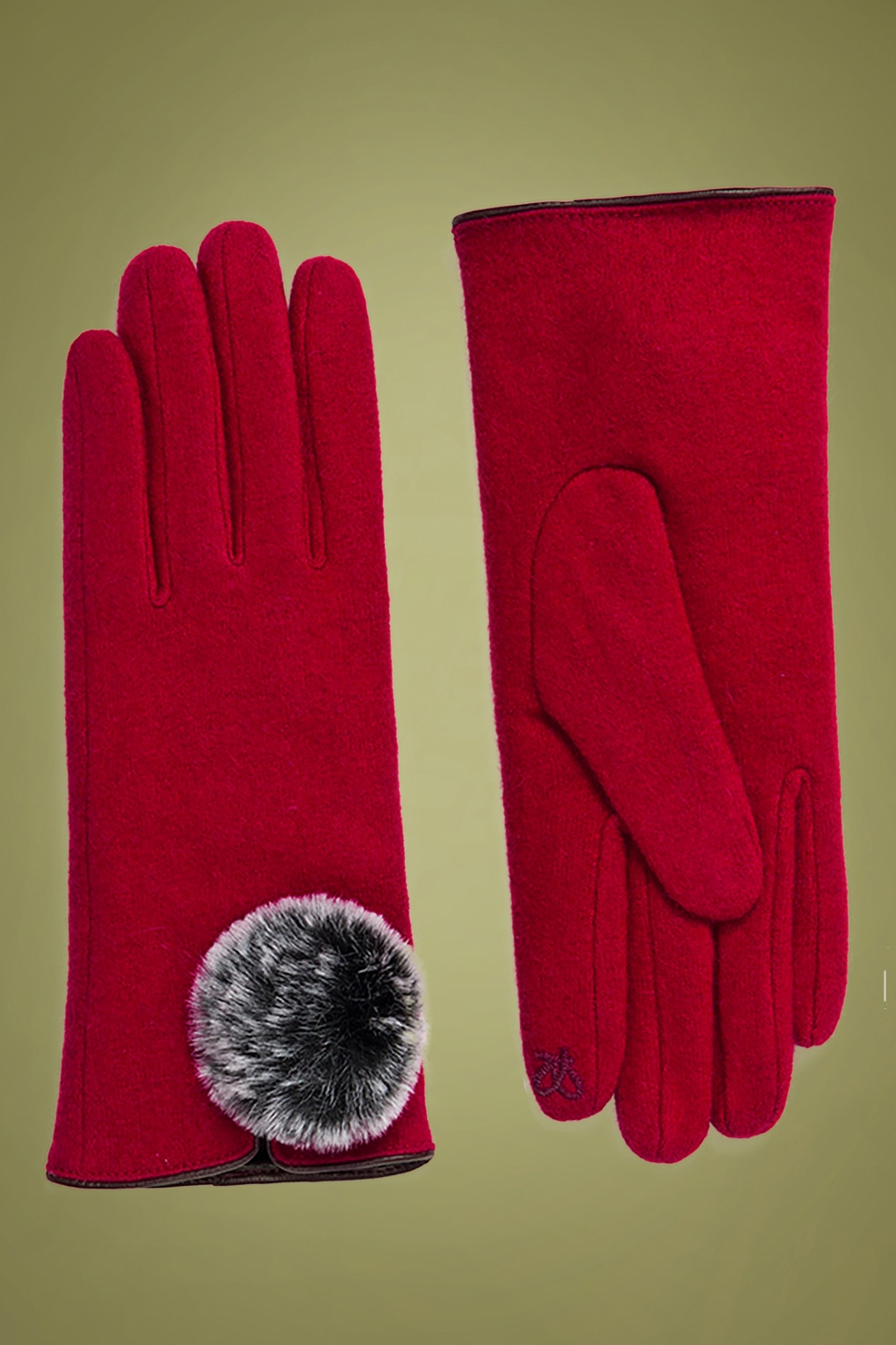 Vintage Style Gloves- Long, Wrist, Evening, Day, Leather, Lace 50s Lucia Wool Gloves in Red £22.40 AT vintagedancer.com