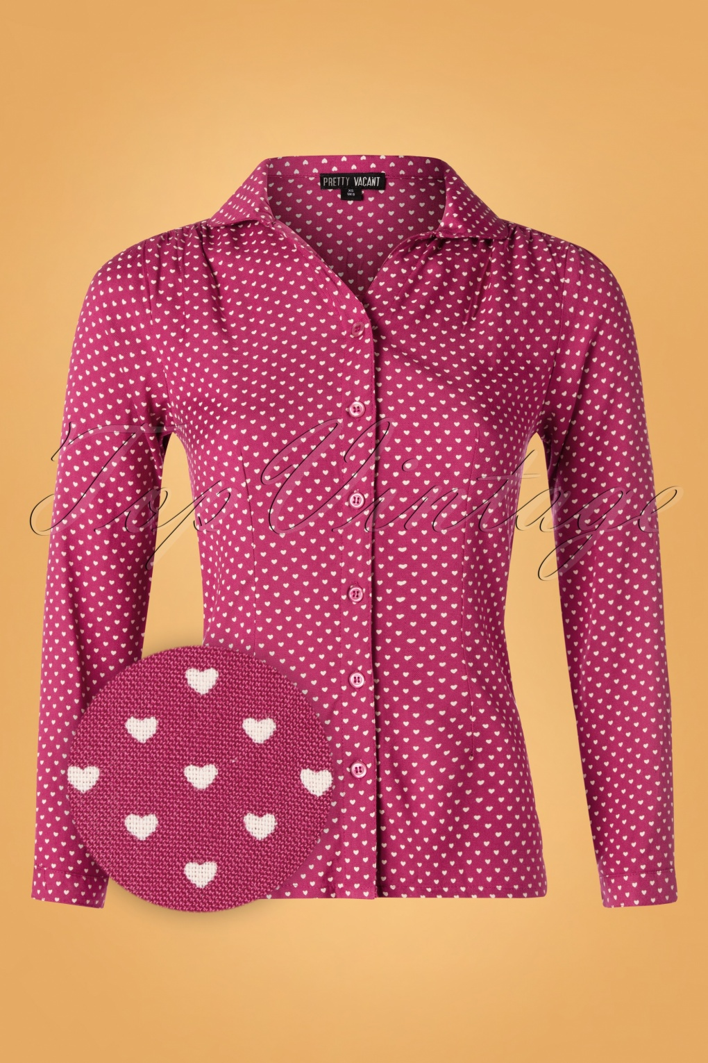 1960s Style Dresses, Clothing, Shoes UK 60s Gaby Hearts Blouse in Raspberry £46.54 AT vintagedancer.com