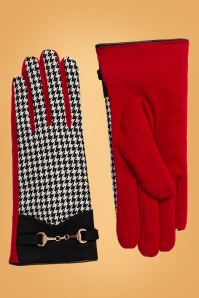 60s Latoya Houndstooth Gloves in Black and Red