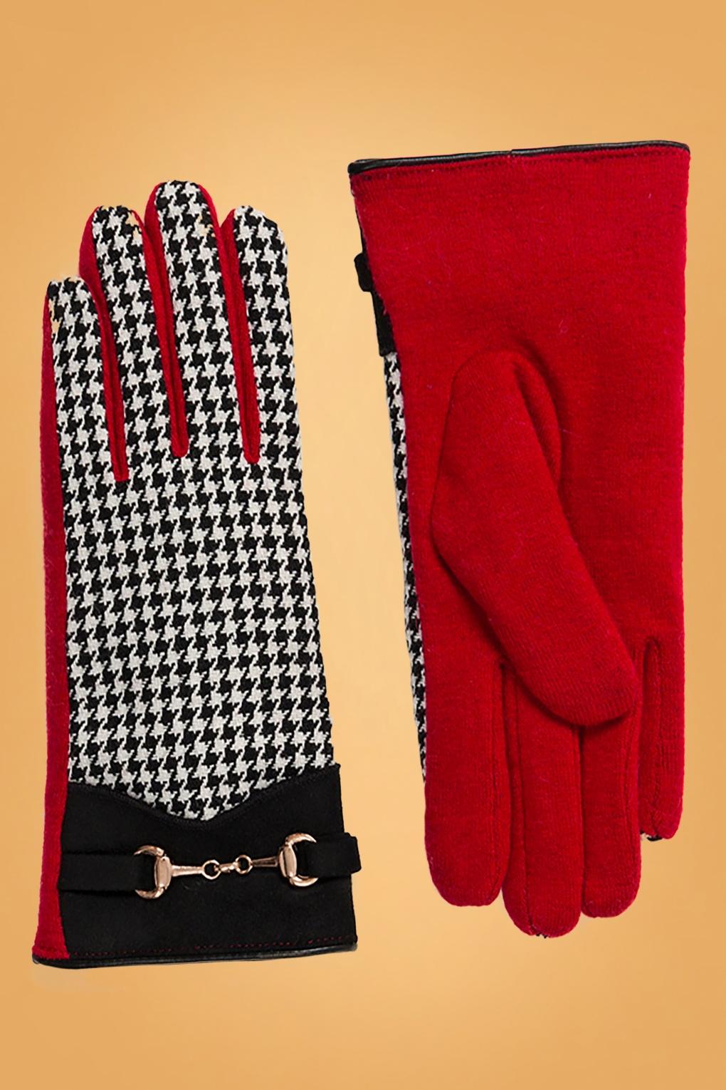 Vintage Inspired Dresses & Clothing UK 60s Latoya Houndstooth Gloves in Black and Red £22.24 AT vintagedancer.com