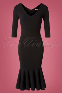50s Fabiola Pencil Dress in Black