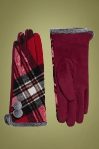 50s Bonnie Tartan Gloves in Red